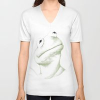 kermit V-neck T-shirts featuring Kermit Linear Curve Art by Rene Alberto