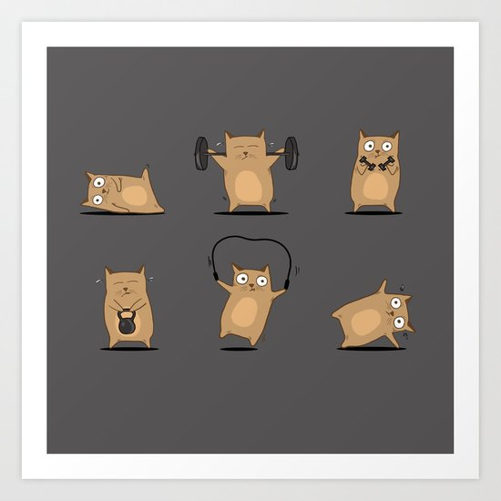 FITNESS CAT Art Print