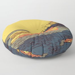 Pimso Beach Cliffs Floor Pillow
