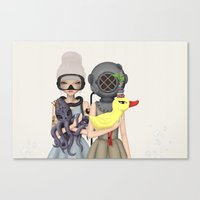diver Canvas Prints featuring diver by Anne  Martwijit