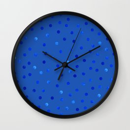 Unique Blue Polka Dots Pattern Wall Clock