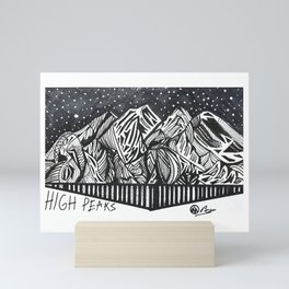 """High Peaks"" Hand-Drawn Adirondacks by Dark Mountain Arts Mini Art Print"