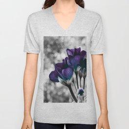Flowers Violet Dark Teal Pop of Color Unisex V-Neck