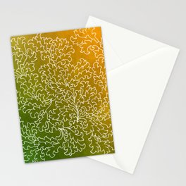 Green Yellow Grunge Leaves Stationery Cards