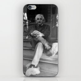 Albert Einstein in Fuzzy Slippers Classic Black and White Satirical Photography - Photographs iPhone Skin