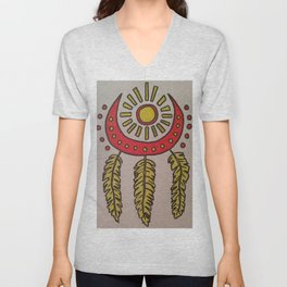 Feathers and sun Unisex V-Neck
