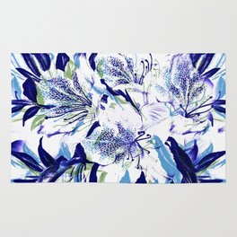 Royal Blue Floral Abstract Rug