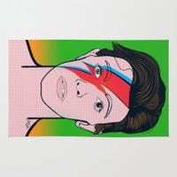 bowie Area & Throw Rugs featuring David Bowie by Alli Vanes