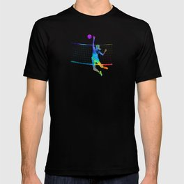 Woman volleyball player in watercolor T-shirt