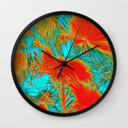 closeup palm leaf texture abstract background in orange blue green Wall Clock