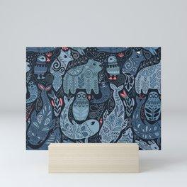 Arctic animals. Polar bear, narwhal, seal, fox, puffin, whale Mini Art Print