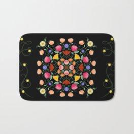 Folk Art Inspired Garden Of Fantastic Floral Delight Bath Mat