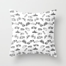 Fire Trucks - Old and New Throw Pillow
