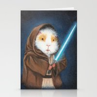 guinea pig Stationery Cards featuring Jedi Guinea Pig by When Guinea Pigs Fly