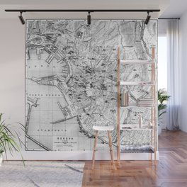 Vintage Map of Genoa Italy (1906) BW Wall Mural