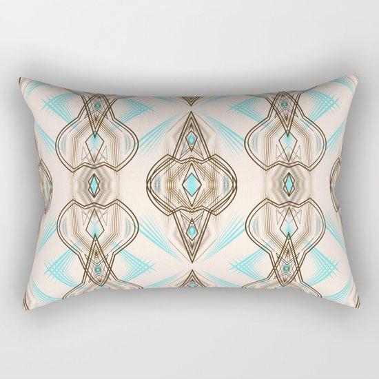 Art Deco . Turquoise brown white . Rectangular Pillow