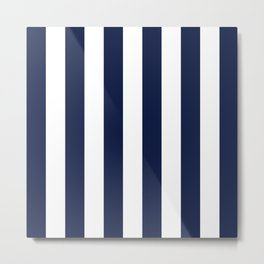 Blue Indigo Navy Stripes Vertical Metal Print
