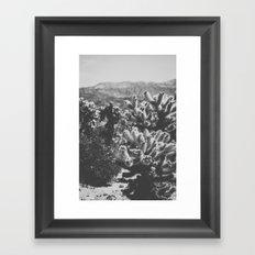 Chollo Cactus Garden (Black + White) Framed Art Print