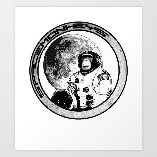 Space Monkeys Black & White Art Print
