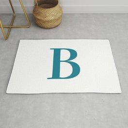 Teal Blue Initial Letter B Monogram Rug