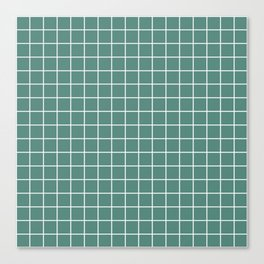 Wintergreen Dream - green color -  White Lines Grid Pattern Canvas Print