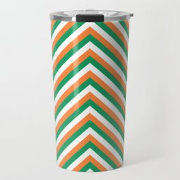 Orange White and Green Irish Chevron Stripe Travel Mug