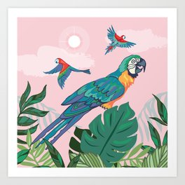 Treetop Parrots Art Print