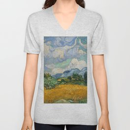 Wheat Field with Cypresses Unisex V-Neck