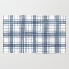 Rustic blue watercolor check pattern Rug