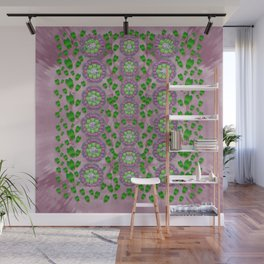 ivy and  holm-oak with fantasy meditative orchid flowers Wall Mural
