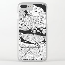 Stockholm Map Gray Clear iPhone Case