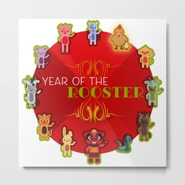 Chinese Zodiac - Year of the Rooster Metal Print