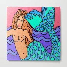 Abstract Digital Mermaid Painting Metal Print