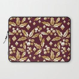 Christmas pattern.Gold sprigs on a dark Burgundy background. Laptop Sleeve