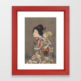 Japanese Art Print - Woman and Fireflies Framed Art Print