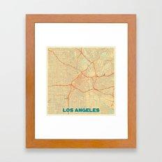 Los Angeles Map Retro Framed Art Print