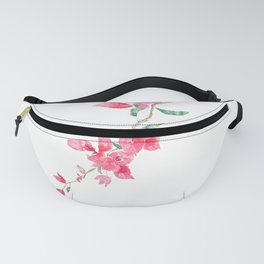 red  pink  bougainvillea watercolor Fanny Pack