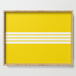 Classic White Stripes on Yellow Serving Tray