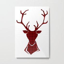 Tartan Reindeer Metal Print