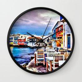 Cafe on Mykonos Beach Wall Clock