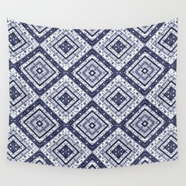 Strict , white blue ornament. Wall Tapestry