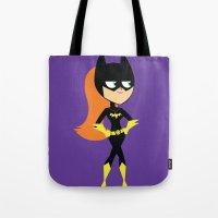 batgirl Tote Bags featuring Batgirl by Adrian Mentus