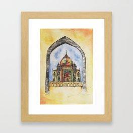 Taj Mahal Illustration Framed Art Print