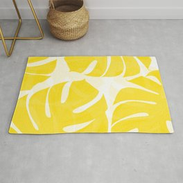 Mellow Yellow Monstera Leaves White Background #decor #society6 #buyart Rug