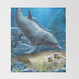The World Of The Dolphin Throw Blanket