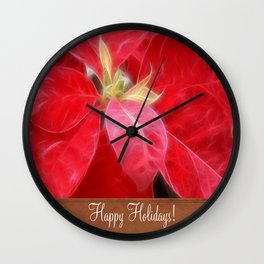 Mottled Red Poinsettia 2 Happy Holidays S1F1 Wall Clock