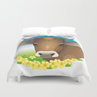 cow Duvet Covers featuring cow by Li-Bro