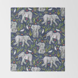 Baby Elephants and Egrets in Watercolor - navy blue Throw Blanket