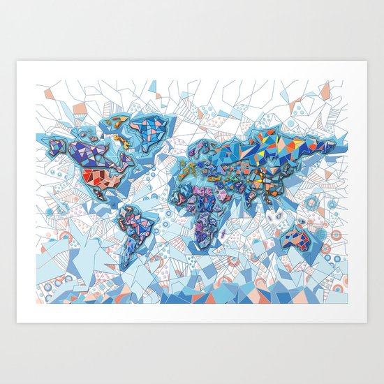 world map geometry white Art Print