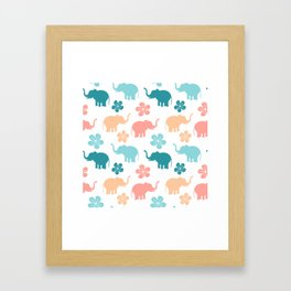 cute colorful pattern with elephants and flowers Framed Art Print